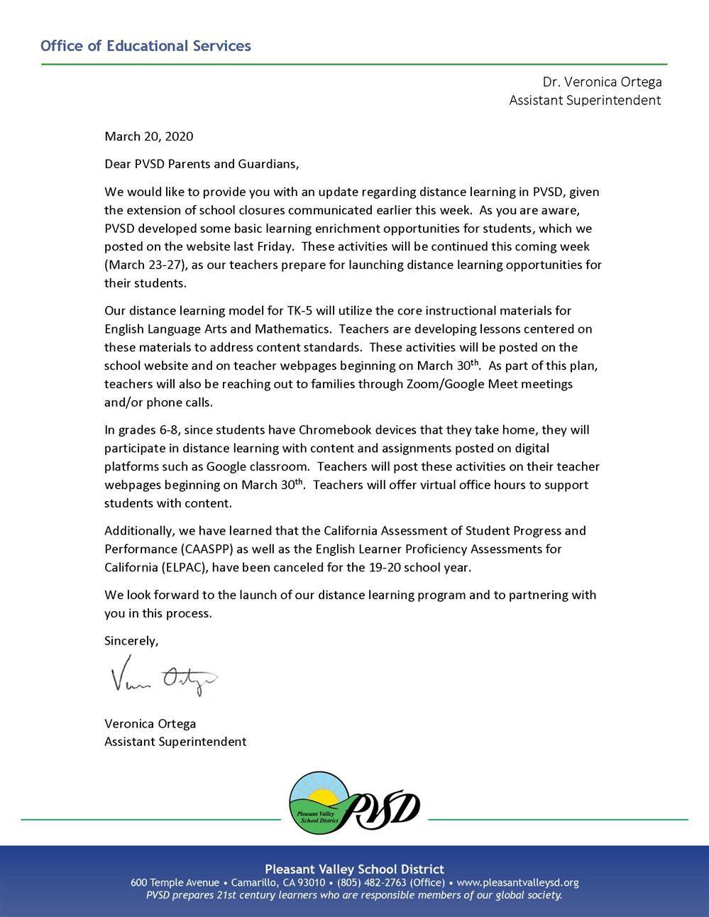 Parent Letter Regarding Distance Learning