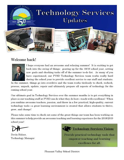 Welcome Back Technology Services Newsletter